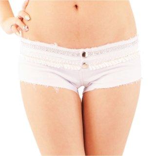 履きやすい伸縮ストレッチ キラキラなストーンのホワイトショートパンツ