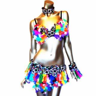 本物の羽 ダンサー衣装4点セット  POPなカラフルカラーMIX ビーズスパンコール[送料無料]