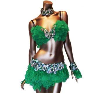 本物の羽 ダンサー衣装4点セット  GREEN グリーン ビーズスパンコール[送料無料]