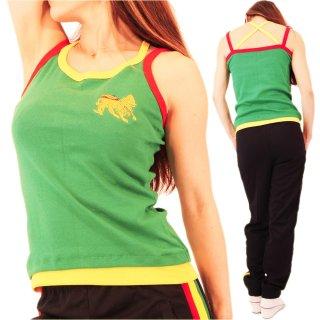 ジャマイカ トップス 刺繍ジャーライオン ラスタ グリーンノースリーブ