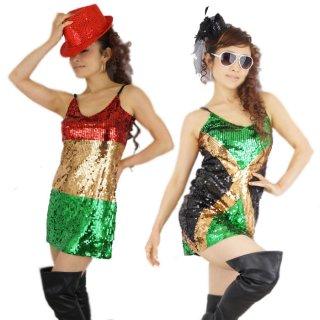 レゲエダンサー衣装 ラスタ&ジャマイカ&UKスパンコールドレス