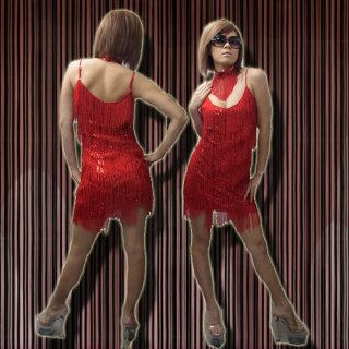 キラッキラ★スパンコールSEXYフリンジドレス!チョーカー付♪アーティストやダンサーに!本格的なサルサやラテンにもおすすめ