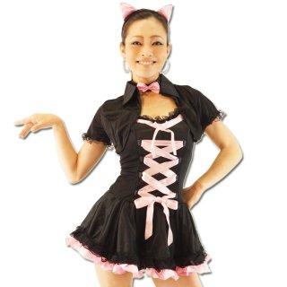 SEXY猫ふりふりセット ミニキャミワンピ・ボレロ・蝶ネクタイ・猫耳カチューシャ・Tバックの5点セット