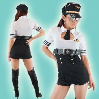 SEXYパイロットに大変身♪SEXYミニ丈ワンピースにパイロットハット&ベルト&Tバックショーツの4点セット
