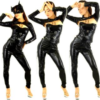 SEXYキャットウーマン!4点セットコスチューム衣裳♪フェイスマスク・ボレロ・コルセット風ベアトップ・ロングパンツ