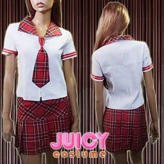 激安SALE♪激安SEXYスクール系コスチューム♪赤チェックorキュートブルー★衣装系セットアップ コスプレ