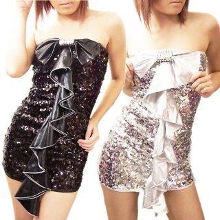 ボディコンシャスなフリルデザインのスパンコールドレス リボン装飾がカワイイ