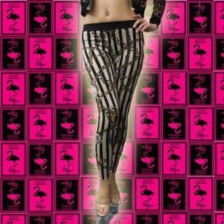 リッチなチェーン&時計のストライプ★ストレッチレギンス・パンツ♪♪ダンス衣装★コスチューム★激安セール
