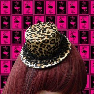 豹柄デザイン☆ミニハット・帽子♪簡単装着クリップ2つ付!ダンサー衣装★バーレスク★ミニハット★ヘアアクセサリー