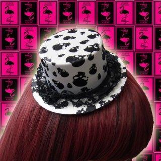 とってもおしゃれ♪カワイイ★スカル柄ミニハット・帽子♪簡単装着クリップ2つ付!ダンサー衣装★ヘアアクセサリー