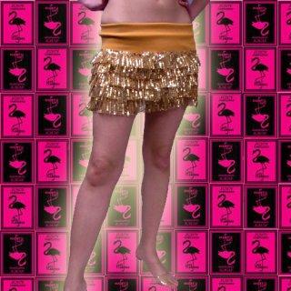 【SALE】スパンコール5段ティアードミニスカート