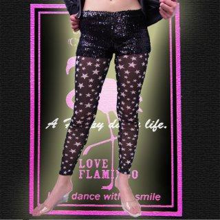 バーレスクなカワイイ星柄シースルー★ストレッチレギンス・パンツ♪ダンサー衣装★タイツ★ボトム★レギパン