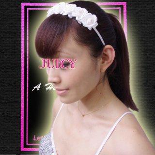 ウエディングにもおすすめ!プリンセス・ホワイト薔薇のコサージュにキラッとストーンを装飾したヘアアクセサリー