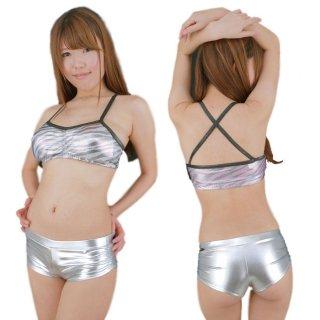 JUICY大HITのダンサー系ブラトップ♪メタルカラーも鮮やかなSEXY!キラキラ★ピカピカゼブラ柄のシャイニー衣装