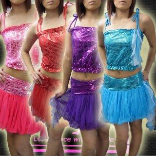 アイドル衣装スパンコールxシフォンのゆらゆらセットアップ