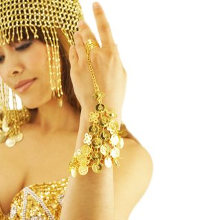 オリエンタルSEXYベリーダンスモチーフ!指輪とブレスをチェーンで結ぶアラビアンコイン・アクセサリー♪