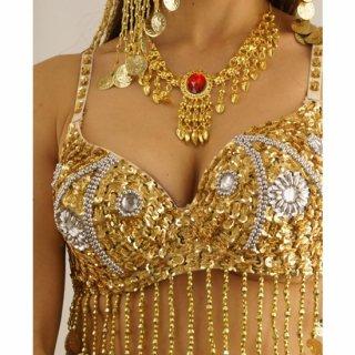 SEXYベリーダンスモチーフ!真っ赤な大きいビジューが美しい♪オリエンタル☆ゴールドネックレス♪アラビアンアクセサリー