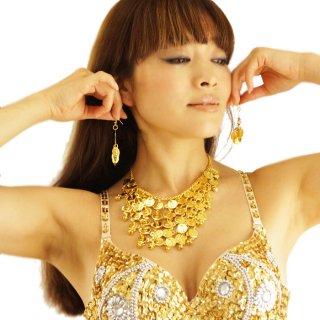 SEXYベリーダンスモチーフ!ゴールドorシルバーのオリエンタル・コイン&鈴のネックレス&ピアスの3点セット アラビアンアクセサリー