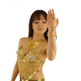 カラフル☆ビジュウ・ストーンが美しい!オリエンタルSEXYベリーダンスモチーフ!指輪とブレスをビジュウ アラビアンアクセサリー