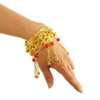 オリエンタルSEXYなゴールド☆バングル・ブレスレットに赤いクリアービーズと鈴!踊る度に鈴の音色 アラビアンアクセサリー