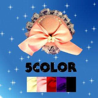 エレガントなマルminiハット★パールの飾りとカラーも可愛いリボンがラブリー(*´∇`*)♪