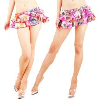 鮮やかカラフル花柄2段ヒラミニスカート