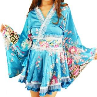 花魁フリフリ着物ミニワンピース和柄ドレス衣装