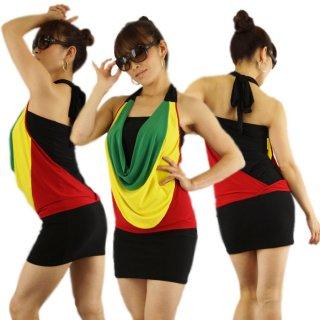 レゲェダンス衣装3WAYジャマイカンミニワンピ—ス