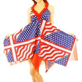 USAアメリカ国旗柄ホルターミニワンピース