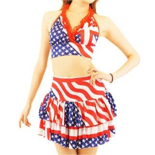 USA アメリカ 国旗 フラッグモチーフ 2段ティアードミニスカートとブラトップのダンサー衣装セットアップ