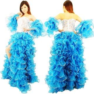 プリンセス ライトブルー キラキラなスパンコール装飾 最高級ボリューミーふりふり巻きスカート&両腕アーム付き[送料無料]