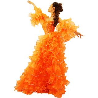 プリンセス オレンジ キラキラなスパンコール装飾 最高級ボリューミーふりふり巻きスカート&両腕アーム[送料無料]