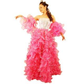 プリンセス ピンク キラキラなスパンコール装飾 最高級ボリューミーふりふり巻きスカート&両腕アーム付[送料無料]