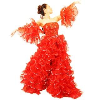 プリンセス レッド キラキラな赤いスパンコール装飾 最高級ボリューミーふりふり巻きスカート&両腕アーム付[送料無料]