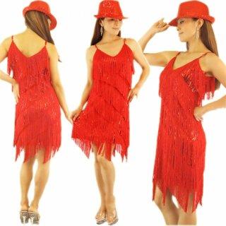 サルサ/ラテンダンス衣装ドレス/フリンジスパンコールワンピース