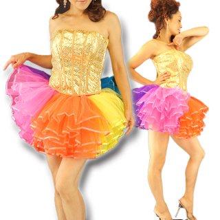 カラフル♪5枚重ねチュール レインボーボリュームパニエ チュチュ バーレスク衣装♪アイドル衣装 フェアリーパニエ★レッスンウエア