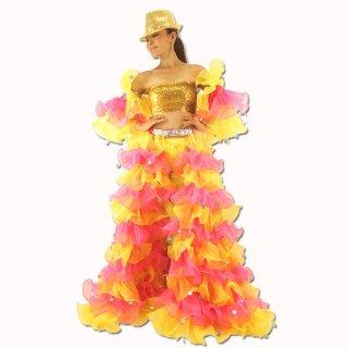 最高級ボリューミーふりふり・パニエのバックティルカットのロングパニエセット衣装 プリンセスシンデレラ!キラキラスパンコール♪サンバ マンボ ラテン[送料無料]