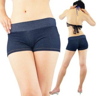 履きやすい伸縮ストレッチのインディゴデニム風ショートパンツ
