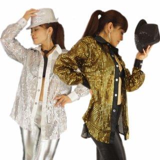 スパンコール風ビッグシャツ/ブラウス【ラテンダンス男性衣装もOK】