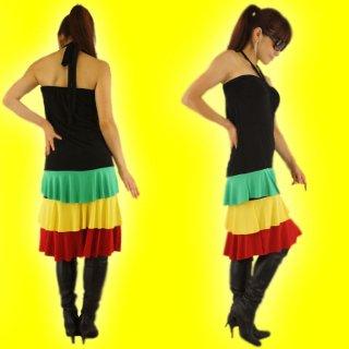 ラスタジャマイカン・ダンサー系ホルターワンピース