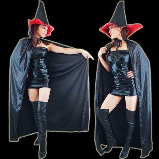 ハロウィン コスプレ衣装 黒 ロングマント