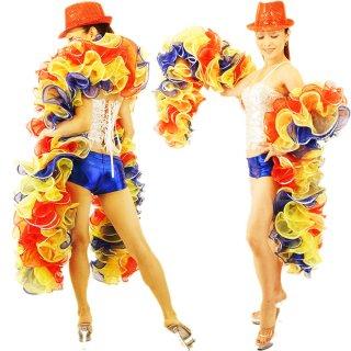 [送料無料]カラフルな3色シフォンのBIGボリューミーマラボー!キラッキラスパンコール装飾デザイン♪プロのバーレスクダンサー衣装にもおすすめ