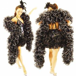 プロのバーレスクダンサーご愛用カッコいいBLACKにゴージャスなスパンコール装飾のBIGボリューミーマラボー!発表会にもおすすめ