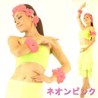 Aloha〜♪ハワイアンフラガールにもおすすめ!カラフルフラワー ヘアーバンドとアームの3点セット☆お花コサージュ フラアクセサリー