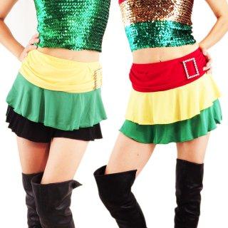 レゲエダンス衣装 ラスタ&ジャマイカティアードミニスカート