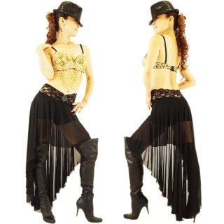 サルサラテン衣装シースルーバラレース黒スカート