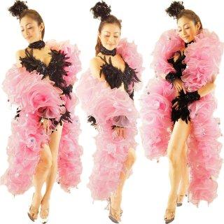 迫力あるBIGサイズ かわいいベビーピンク ボリューミーマラボー コインビーズ装飾 プロのバーレスク衣装にもおすすめ[送料無料]