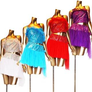 スパンコール&柔らかいオーガンジー ダンス衣装 上下セット