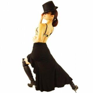 美しく大胆なフレアースリット!キラキラなラインストーン付きファスナーデザイン!SEXYスリットロングスカート