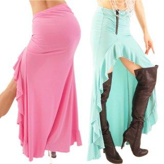 パステルカラーが美しく♪大胆なフレアースリット!キラキラなラインストーン付きファスナーデザイン!SEXYロングスカート